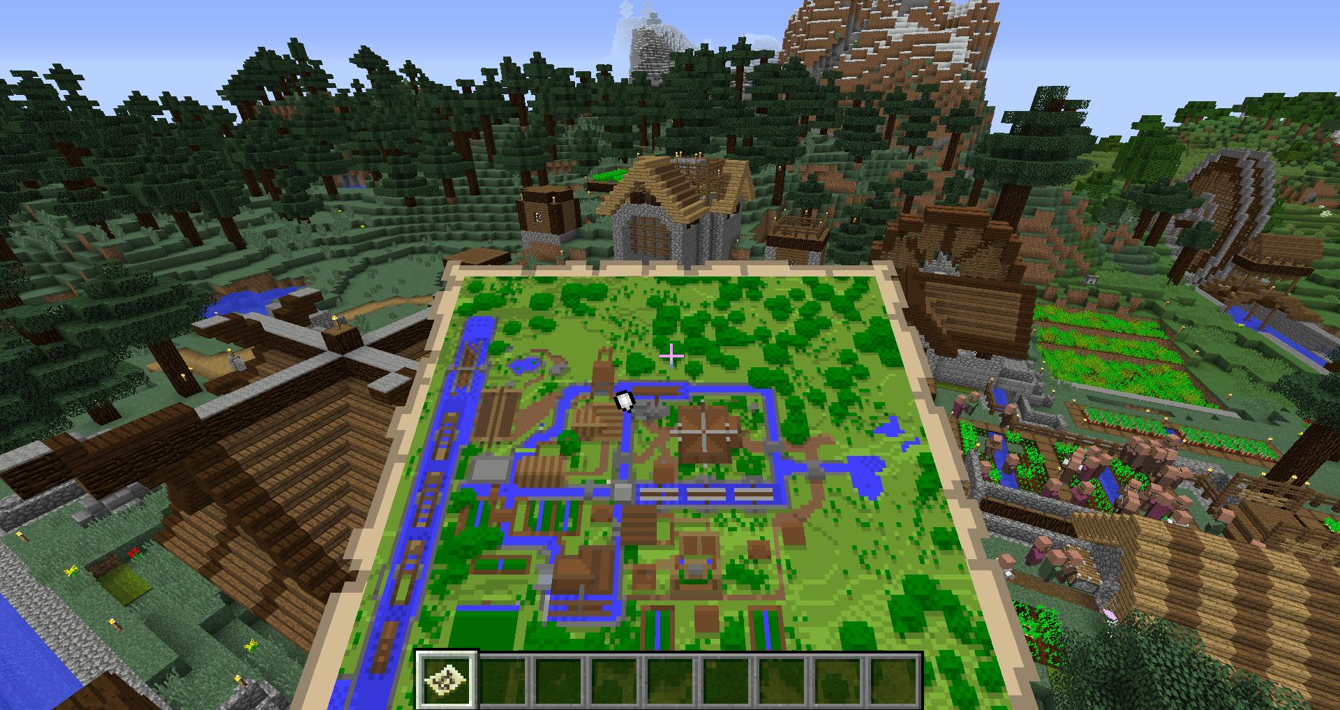 マインクラフト 地図の使い方、地形を書き込む