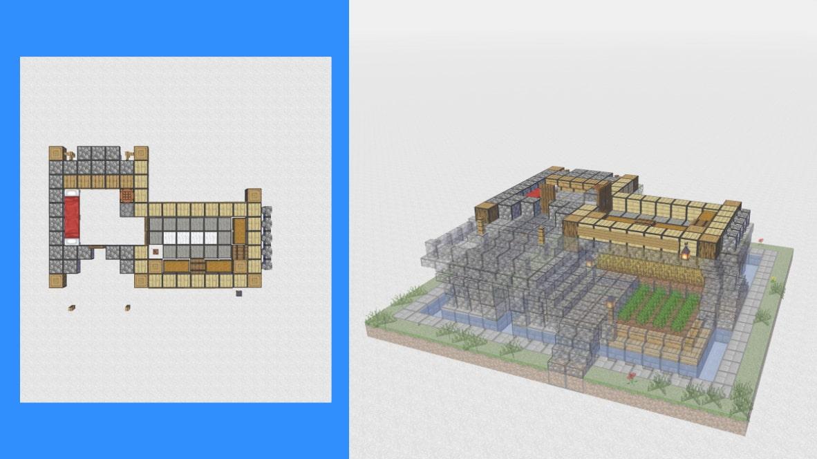 マインクラフト サバイバル拠点・洋風建築の作り方!設計図8