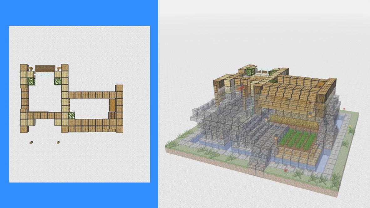 マインクラフト サバイバル拠点・洋風建築の作り方!設計図9
