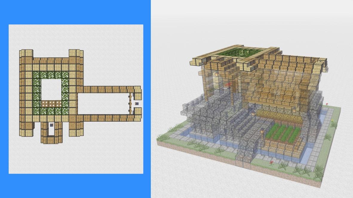 マインクラフト サバイバル拠点・洋風建築の作り方!設計図10