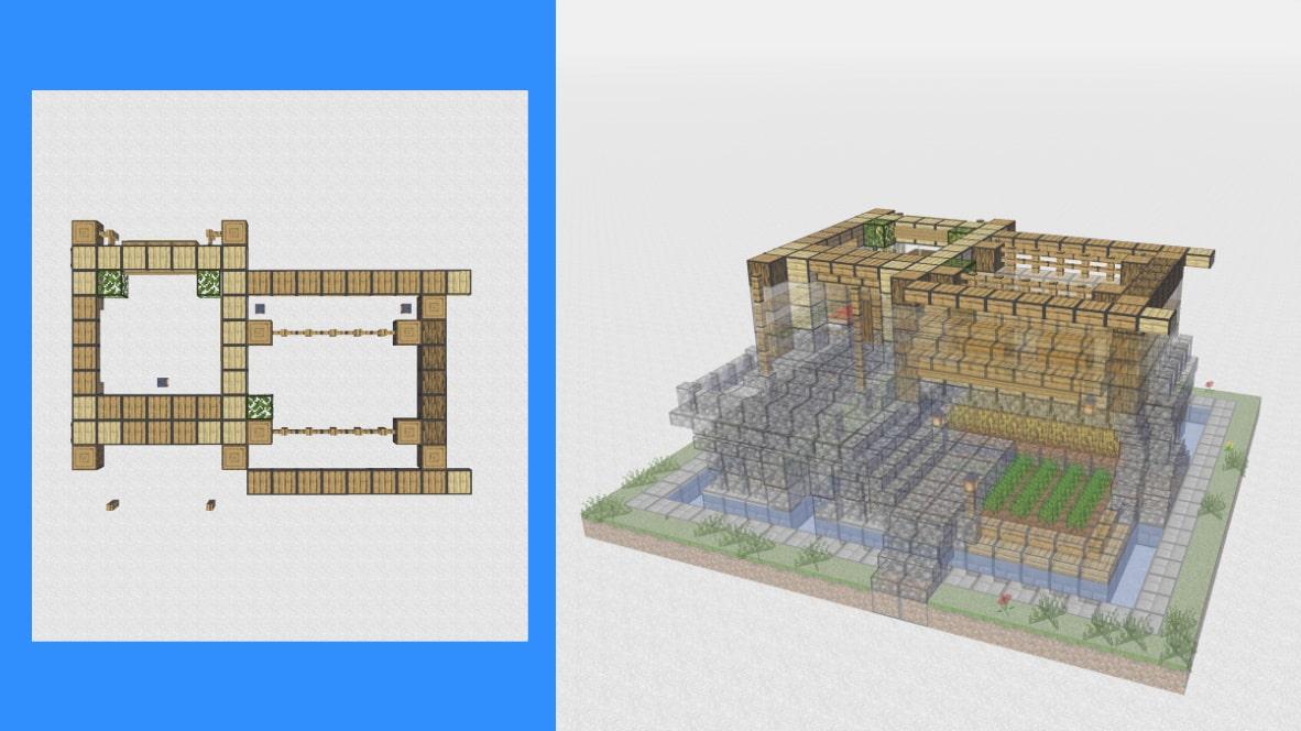 マインクラフト サバイバル拠点・洋風建築の作り方!設計図11