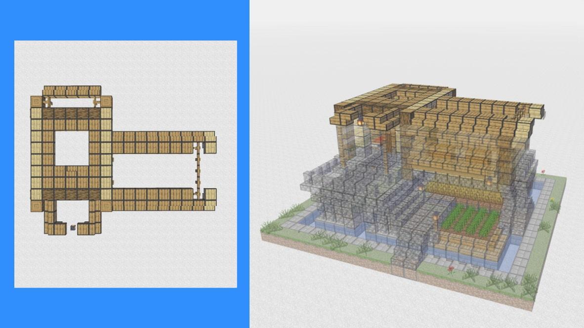 マインクラフト サバイバル拠点・洋風建築の作り方!設計図12