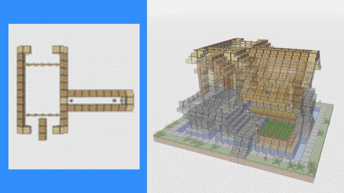 マインクラフト サバイバル拠点・洋風建築の作り方!設計図14
