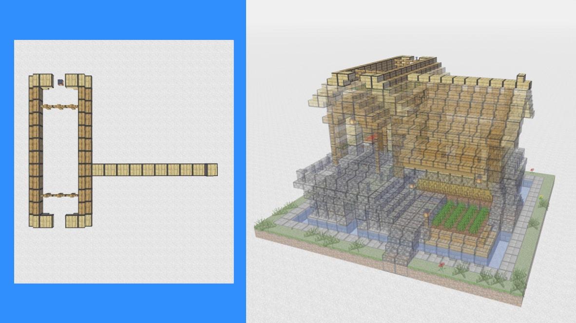 マインクラフト サバイバル拠点・洋風建築の作り方!設計図15