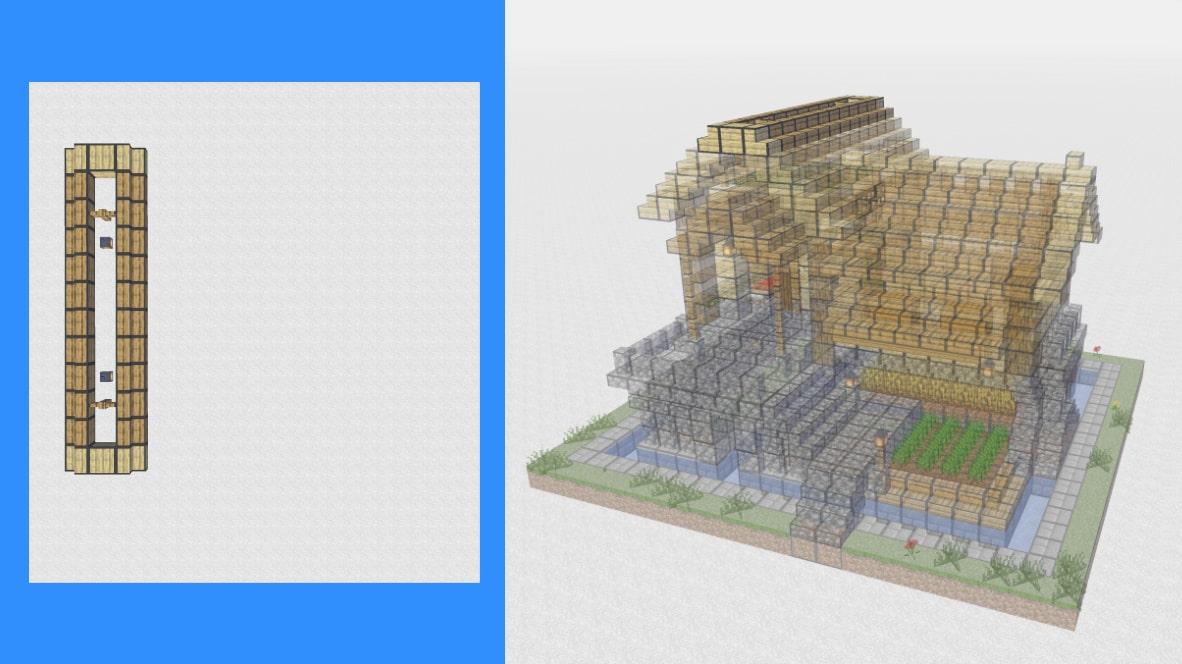 マインクラフト サバイバル拠点・洋風建築の作り方!設計図16