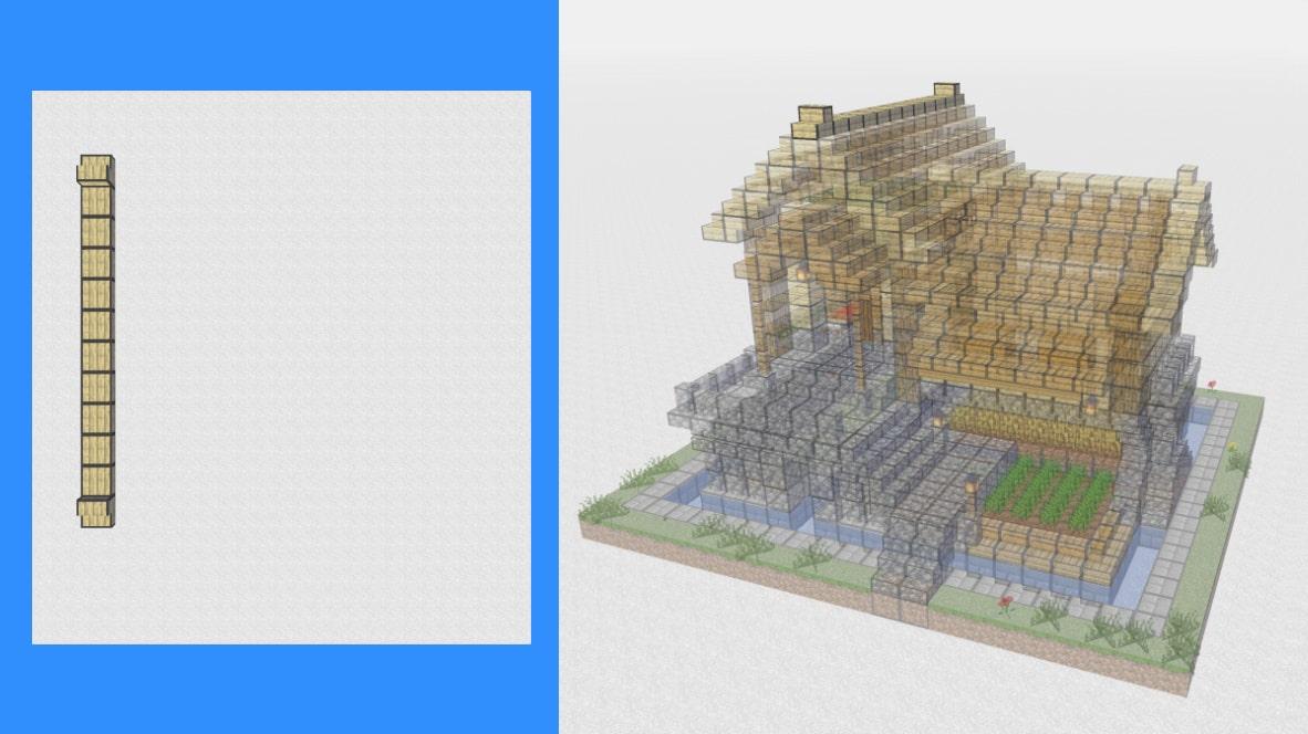 マインクラフト サバイバル拠点・洋風建築の作り方!設計図17