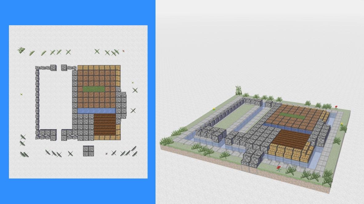 マインクラフト サバイバル拠点・洋風建築の作り方!設計図2
