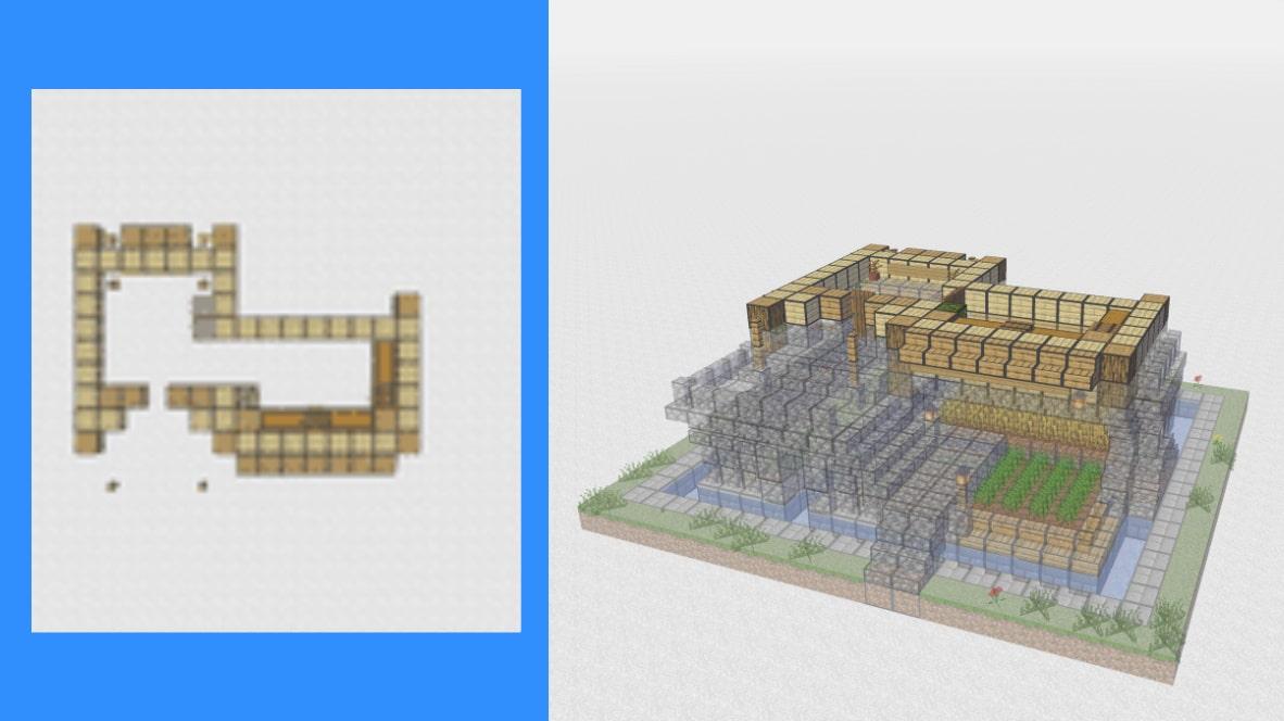 マインクラフト サバイバル拠点・洋風建築の作り方!設計図6