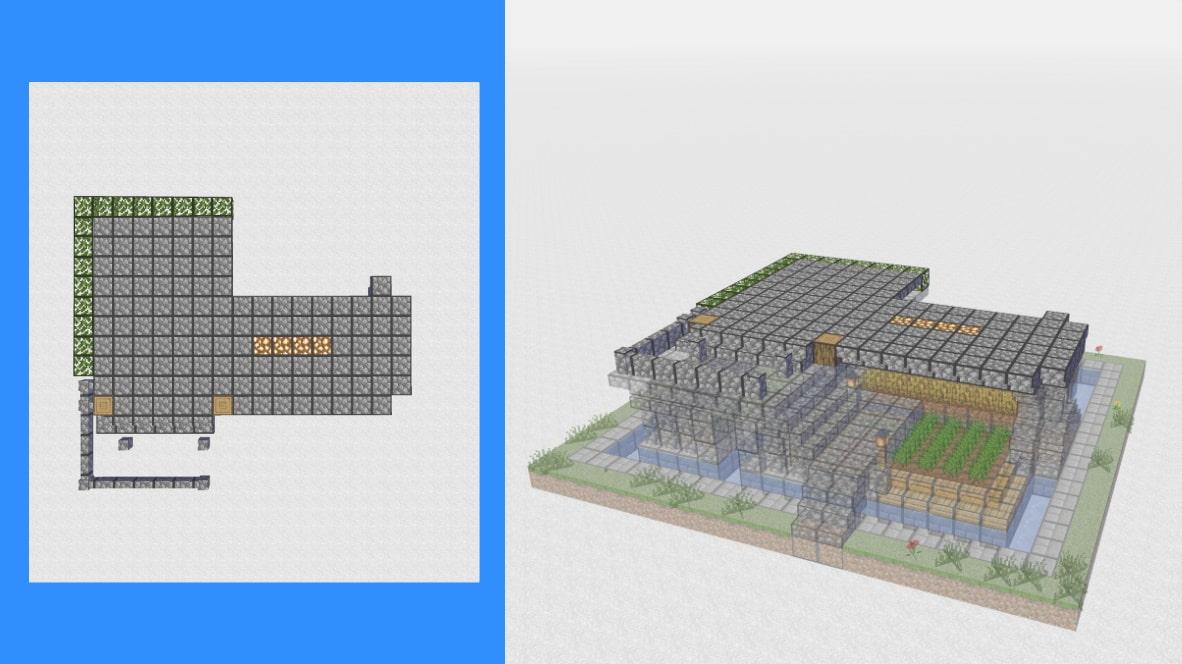 マインクラフト サバイバル拠点・洋風建築の作り方!設計図7