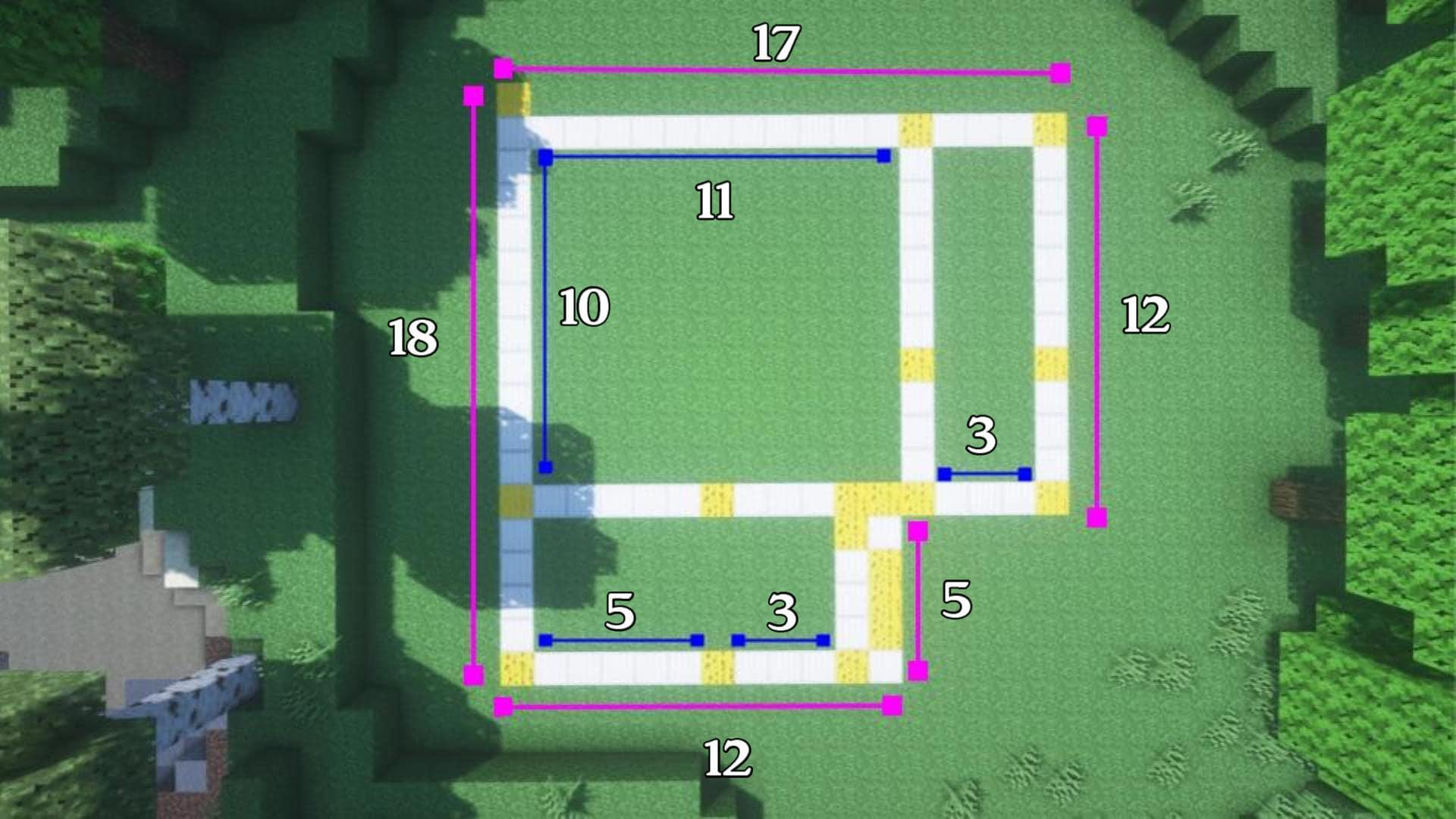マインクラフト サバイバル拠点・洋風建築の作り方!準備する面積の図