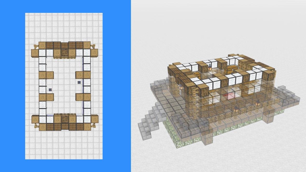 マインクラフト 和風建築の作り方!設計図7