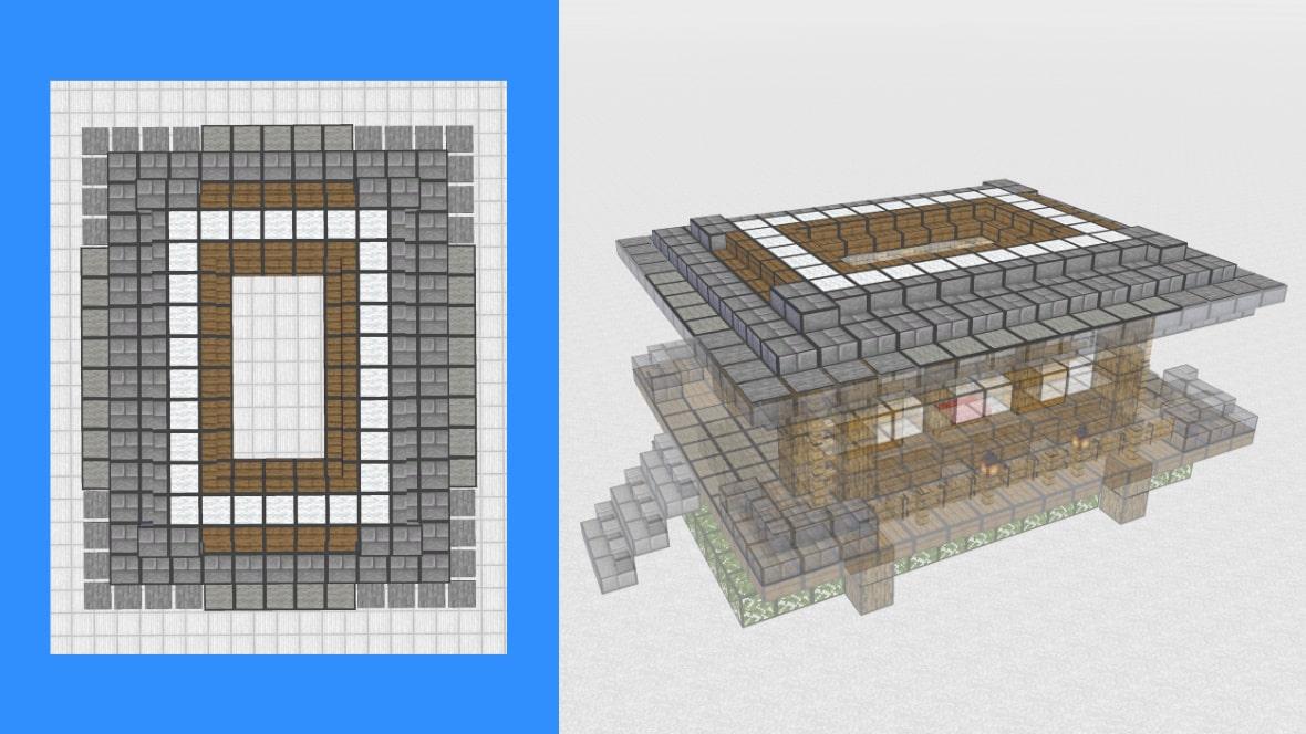 マインクラフト 和風建築の作り方!設計図9