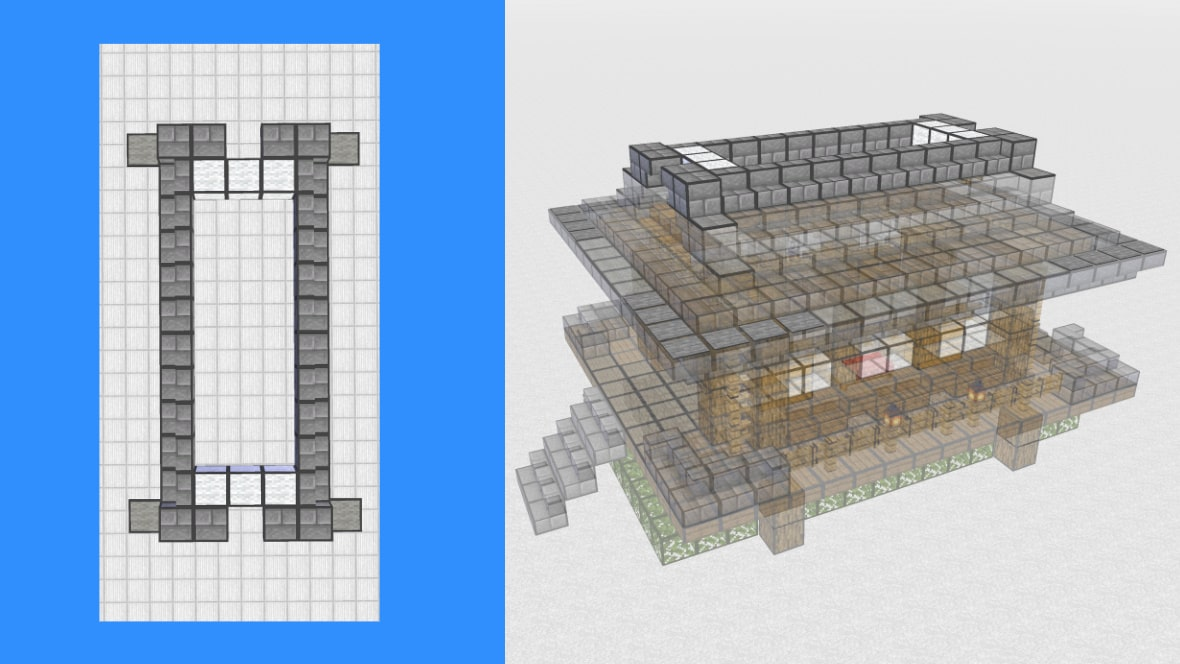 マインクラフト 和風建築の作り方!設計図11